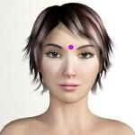 Facial acupressure point GV24.5 (Third Eye)