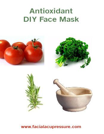 antioxidant mask, tomato, parsley, rosemary